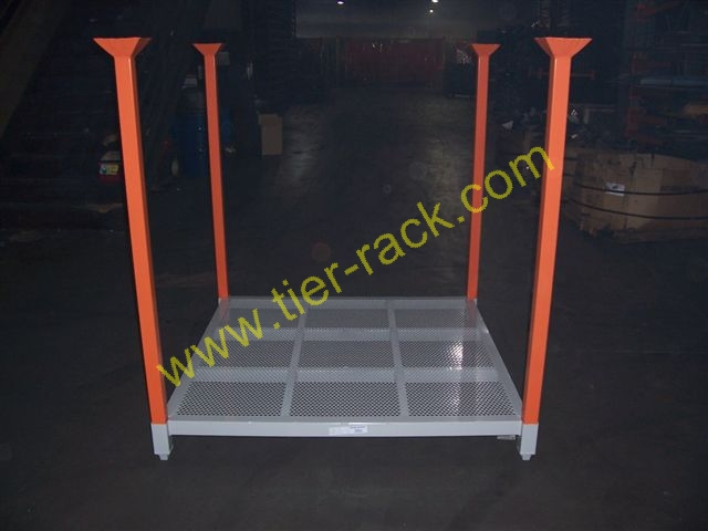 Tier-Rack offers a green alternative to wood pallets: all-steel stacking pallets.