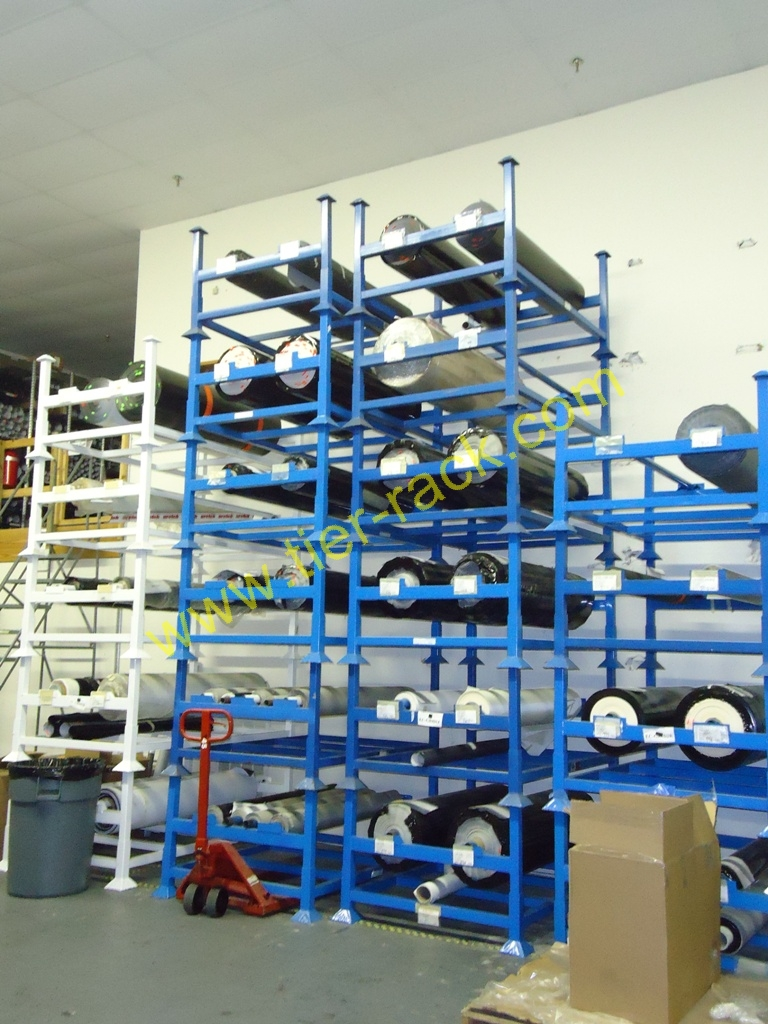 Safely Store Products on Rolls With Suspended Roll Racks